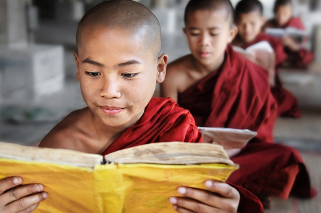 17-David-Lazar-Novice-Monks-Reading